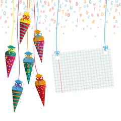 Schulanfang - hängendes Schild aus Schulheftpapier mit Zuckertüten, Buchstaben und Nummern als Konfetti