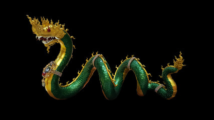 thai buddhism dragon, naka statue with clipping paths isolated o