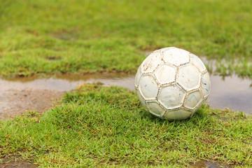 Old white soccer ball