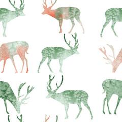 seamless pattern illustration watercolor reindeer Christmas green and orange silhouett