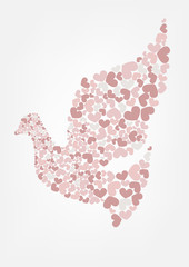 Abstract dove flying with hearts shape illustration.