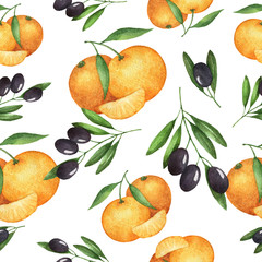 Watercolor seamless pattern, olive and mandarin.