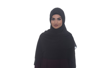 Young Muslim Girl Smiling On White Background