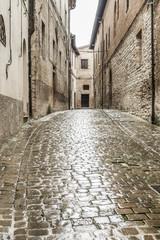 typical italian city street at rain