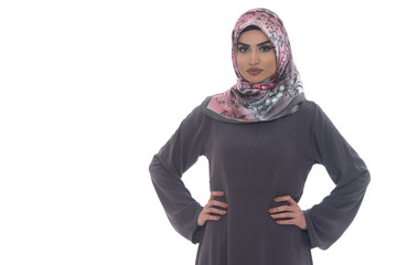 Muslim Woman Wearing Hijab On White Background