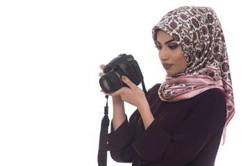 Beautiful Female Photographer Isolated On White Background