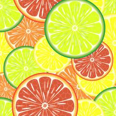seamless pattern of orange, lemon, lime and grapefruit