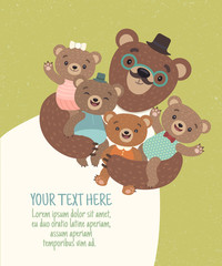 Vector  cartoon Illustration of a dad-bear who holds a teddy bears in a cute clothes. Template card for family celebration. Pattern for children's posters, or for  kindergarten