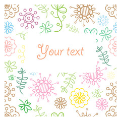 Vector ornament doodle card. Abstract pattern. Place for your text.