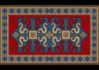 Bright vintage rug with ethnic pattern dragons on the blue center