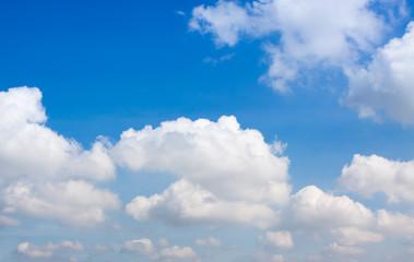 Blue sky, white clouds.