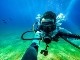 Underwater diver selfie.