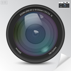 Realistic camera photo lens with shadows