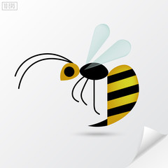 Cartoon honey bee in flat style.