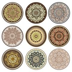 Set of ornamental colorful mandalas