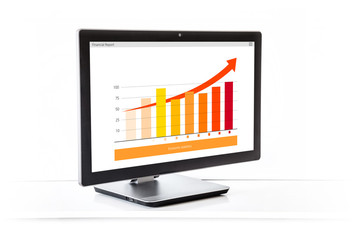 Computer monitor with graph of Financial growth and arrow on screen