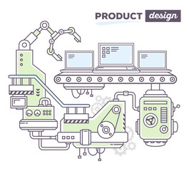 Vector illustration of creative professional mechanism to produc