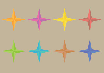 Colorful Four-Pointed Star Symbol