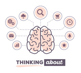 Vector illustration creative infographic of brain with icons and