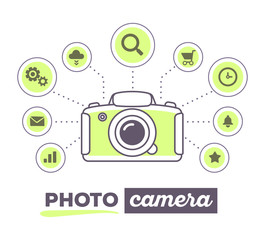 Vector illustration creative infographic of photo camera with ic