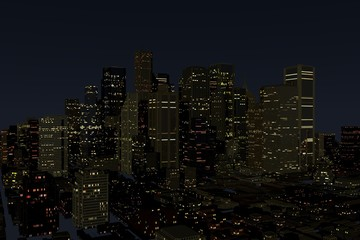 Urban Night City in Motion. Nice 3D Rendering