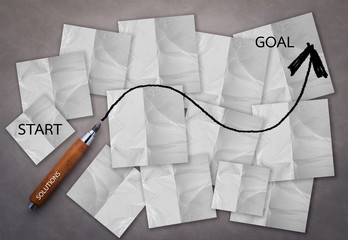 business success concept with draw line from start to success on