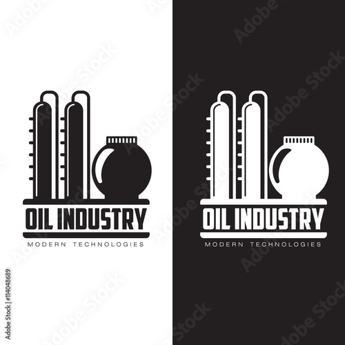 set of logos with oil, vectors flat illustration isolated on