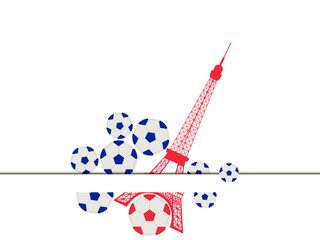 Eiffel Tower and ball. Soccer ball and a symbol of France. Vector illustration.