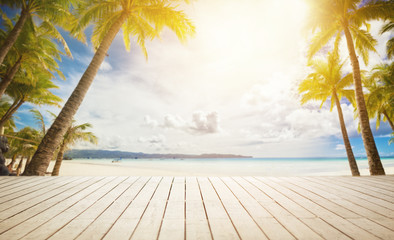 Foto op Plexiglas Strand wooden dock with tropical background