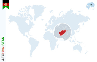 Blue world map with magnifying on Afghanistan.
