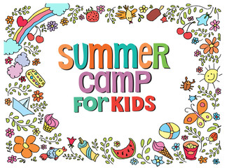 doodle summer vector illustration  with text flowers things for kids camp