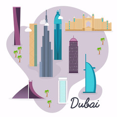 Dubai. Travel map and vector landscape of buildings and famous l