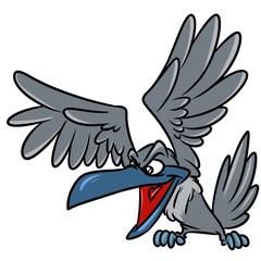 Grey crow cartoon illustration isolated image animal character
