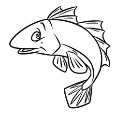 Fish Coloring Pages cartoon illustration isolated image animal character