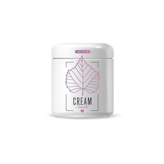 Harmony organic cosmetic brand of cream vector packaging template, body care product. Realistic bottle mock up set, isolated pack on white background.