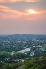 View of local city from mountain in Thailand