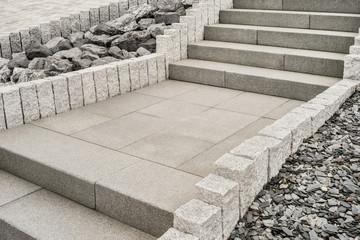 Steingarten mit Treppe aus Granit --- Rockery with granite staircase
