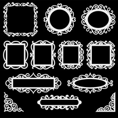 Set of decorative vintage frames and corners for your design. Ornamental frame silhouettes