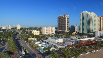 FORT LAUDERDALE - FEBRUARY 25, 2016: City aerial skyline on a su