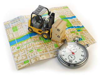 Wall Mural - Forklift with cardboard boxes and stopwatch on the city map isol