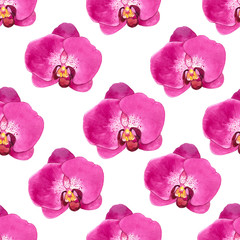 Spring seamless background with watercolor orchid.