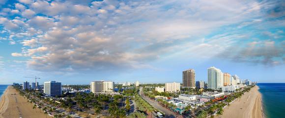 Fort Lauderdale, Florida. Sunset aerial panoramic view