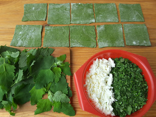 Nettles green ravioli with quinoa and cheese, weed dough, wild plants cooking