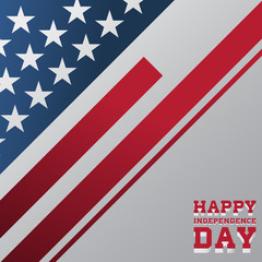 Happy Independence Day with America flag. Vector illustration.