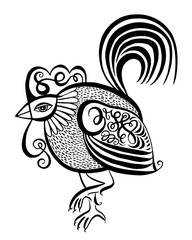 original black and white line art rooster calligraphy drawing, s
