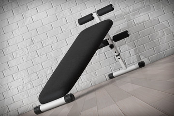 Exercise bench. Gym Equipment. 3d Rendering