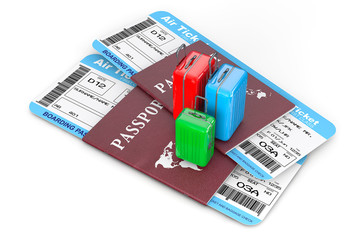 Travel Concept. Suitcases over Passports with Tickets. 3d Render