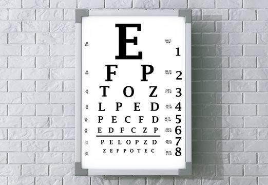 Snellen Eye Chart Test Box. 3d Rendering