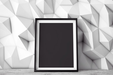 Blank Picture Frame in front of Low Polygon Decorative Wall. 3d