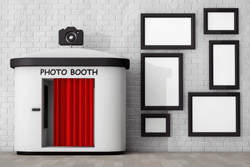 Photo Booth in front of Brick Wall with Blank Picture Frames. 3d